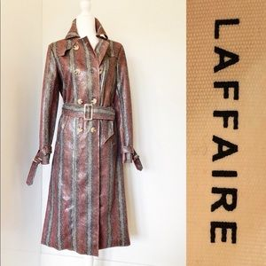 NWT LAFFAIRE Snakeskin design Trench Coat.